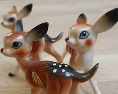 Set of 3 Miniature Deer Figurines Tiny Bone China Fawns Japan Porcelain Retro Animal Knickknacks Vintage Collectibles Mid Century Decor