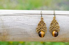 This earrings has been carried out with the macramé technique, with magical tiger eye stone. Perfect for any loock: hippie, boho, ethnic, gypsy, fantasy, elfic, elven, celtic, wicca...  An earrings full of magic!  Custom order: If you like other colour, i can made this earrings in other thread. Contact to me.   Made with love by Paula :)