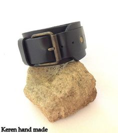 Beautifully handcrafted men's black leather by kerenhandmade, $35.00