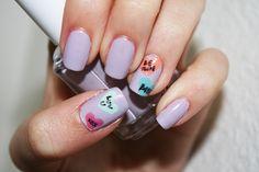 Nail Art: Conversation Hearts by panphila, via Flickr