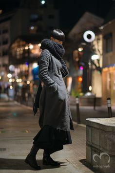 Yun Shen wears Poem Bohemien Coat,Yohji Yamamoto Scarf and Bag,Comme Des Garcons Pants,Carol Christian Poel Boots at Shibuya Cat Street