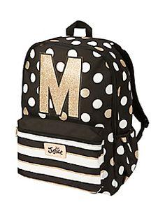 Initial Polka Dot Backpack Tween Backpacks, Cute Girl Backpacks, Justice Backpacks, School Backpacks, Polka Dot Backpack, Mini Backpack, Black Backpack, Fashion Bags, Fashion Backpack
