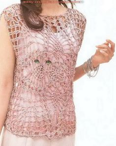 Crochet Lace Cat Eyes Vest: pattern/diagram