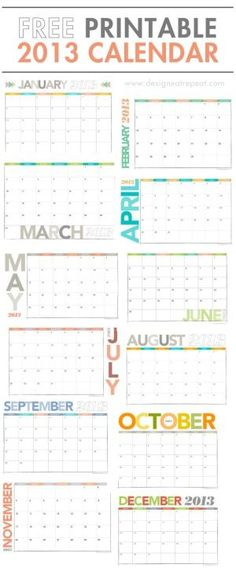 2013 Calendar Printable PDF by elba