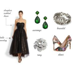 """""""Wedding Guest Outfit"""" by whatshersecret on Polyvore  Black tie, evening wedding."""