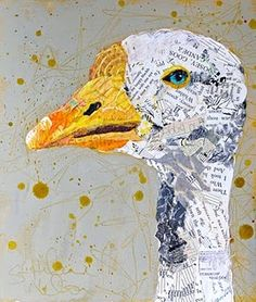 "Original Collage Artwork, on wood panel, ""Gander"" SOLD E. Hilaire Nelson Love the newsprint, if it is newsprint. Newspaper Art, Magazine Collage, Mixed Media Collage, Art Plastique, Elementary Art, Bird Art, Medium Art, Art Techniques, Altered Art"