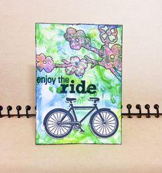 #atc #artisttradingcard #mixedmedia #bicycle #mixedmediaart #watercolors
