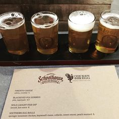 We are so happy to announce that our friends at Chicken and the Egg and @schoolhousebeer are working together to offer a limited menu every night at @schoolhousebeer. Come in and get a flight and some amazing farm to table offerings.