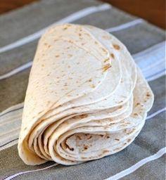 DIY Tortillas: flour, salt, warm tap water, and shortening/lard