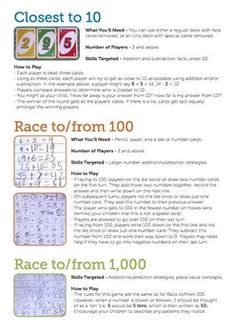 Instructions written for grown ups for three math games: Closest to Race to 100 & Race to All three games require little setup.This work is licensed under a Creative Commons Attribution-NonCommercial-NoDerivs Unported License. Math Place Value, Place Values, Math Games, Maths, Threes Game, 2nd Grade Math, Math Skills, The 100, Parents
