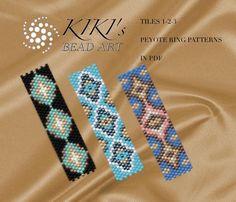 Pattern peyote flowery rings Spring peyote ring set of 3 Loom Bracelet Patterns, Bead Loom Bracelets, Beading Patterns, Peyote Beading, Beaded Rings, Beaded Jewelry, Ring Tutorial, Handmade Rings, Bracelets
