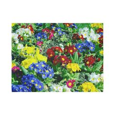Red Blue Yellow Colorful Floral Garden Cotton Linen Wall Tapestry 80