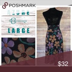NWT Large Lularoe Azure Skirt Brand new (with tags) large Lularoe Azure midi skirt with pixelated orange and pink/purple flowers on black background. Soft and comfortable, with a stretchy waistband.  This skirt is perfect for the Spring weather! Large officially fits sizes 14-16 but there's a little wiggle room since it's so stretchy. LuLaRoe Skirts Midi