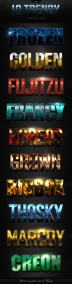 10 Trendy Photoshop Styles Vol.4 - Text Effects Actions
