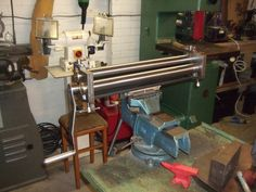 Pinch Rollers by Andrew Wildman -- Homemade 470mm wide pinch rollers fabricated from steel, brass, and hardware. http://www.homemadetools.net/homemade-pinch-rollers