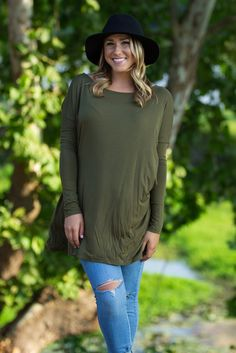Long Sleeve Piko Tunic - Dark Olive