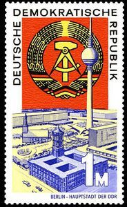 DDR stamp celebrating 20 years of the DDR, issued September 1969