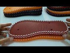 SOLADO BORDADO EM X COM MIÇANGUINHA -MAGNANY SENA - YouTube Crochet Sandals, Beaded Sandals, Crochet Shoes, Crochet Slippers, Knit Shoes, Sock Shoes, Flip Flop Craft, Custom Flip Flops, Boho Wedding Shoes