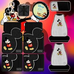 10 pc Mickey Mouse Vintage Combo Front Rear Car Floor Mats, Seat Covers, Steering Wheel Cover, CD Organizer, Matching Key Chain and CD Wallet by Plasticolor, http://www.amazon.com/dp/B002IGNE7K/ref=cm_sw_r_pi_dp_ofSUqb197THZC