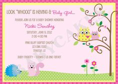 Owl Baby Shower Invitation Girl   DIY Print Your by jcbabycakes, $12.00