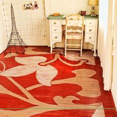 Readers' Clever Upgrade Ideas That Wowed Us II I wonder if thisncoupd be done on concrete? Flower-Painted Floor from the 2012 this old house reader remodel ways you w. Painted Wood Floors, Concrete Floors, Painted Furniture, Painted Rug, Furniture Design, Hand Painted, Floor Cloth, Floor Rugs, Stenciled Floor