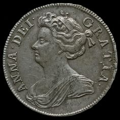 1707 Queen Anne Early Milled Silver Half Crown, Septimo Edge