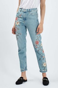 MOTO Floral Embroidered Mom Jeans - Topshop: