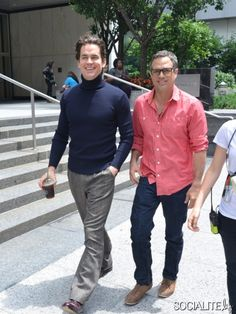 Matt Bomer, Mark Ruffalo pictured on the set of 'The Normal Heart' in New York City. July 03, 2013.