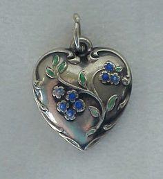 Super Pretty Vintage WWII Blue Green Enamel Flowers Sterling Puffy Heart Charm | eBay
