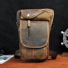 Leather Drop Leg Bag Belt Pouch Mens Waist Bag Shoulder Bag for Men – iwalletsmen Mens Waist Bag, Jedi Cosplay, Belt Pouch, Custom Bags, Long Wallet, Card Wallet, Leather Backpack, Brown Leather, Drop