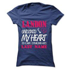 LANDON UNLOCKED MY HEART SO I AM STEALING HIS LASTNAME IN RETURN T-Shirts, Hoodies. GET IT ==► https://www.sunfrog.com/Names/LANDON-UNLOCKED-MY-HEART-SO-I-AM-STEALING-HIS-LASTNAME-IN-RETURN-Ladies.html?id=41382