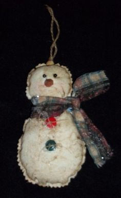 Prim  Snowman Ornament by ChristmasCove on Etsy, $5.00