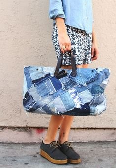 Mixed Denim Bag: I like this idea for an over night bag