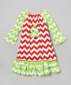 Take a look at this Helene's Closet Red & Green Zigzag Xmas Tree Dress - Infant, Toddler & Girls on zulily today!