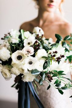 Touch of Black Wedding Inspiration. White and black wedding bouquet with greenery. White Wedding Bouquets, Green Wedding, Floral Wedding, Bouquet Wedding, Wedding Shoot, Boho Wedding, Wedding Dresses, Anemone Bouquet, Carnation Bouquet