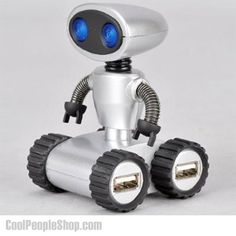 $14.27 Robot USB Hub   Cool People Shop Beat the mundane looking USB hubs with this cute little Robot USB hub with 4 USB ports that brings a lot of personality to your desk.  You can adjust the bendable arms in pose you like desire, and roll it around the desk thank to its rubberised wheels. Its eyes light up when it's plugged in, this little robot would light up any kid's day it makes a fun gift for all ages.