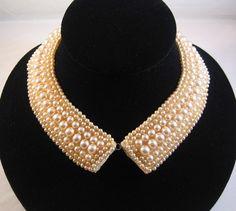 Vintage 1950 Baar and Beards Japan Pearl Beaded Collar, Peter Pan Collar. $75.00, via Etsy.