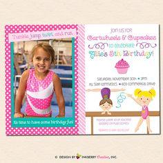 Girl's Gymnastics Birthday Party Invitation  by inkberrycards