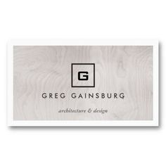 Decorative initial logo on slate gray business card business cards modern simple box logo on gray woodgrain business card reheart Gallery