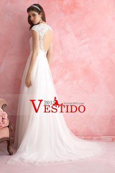 2015 V-cuello una línea de vestidos de novia de tul Cuentas con y apliques