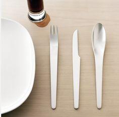 Check out the Arne Jacobsen Stainless Steel Silverware - 5 pc in Flatware, Tabletop from Studio LX for Arne Jacobsen, Cutlery Set, Flatware, Danish Design, Scandinavian Design, Scandinavian Interiors, Bauhaus, Kitchenware, Home Accessories