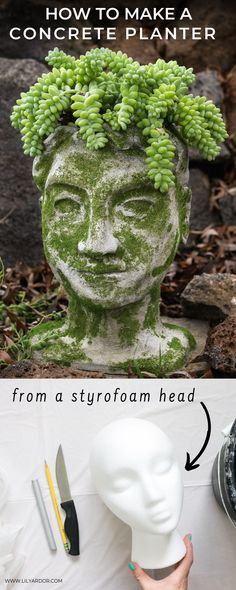 HEAD PLANTER DIY from styrfoam heads and concrete! Perfect to brighten up your garden! Face Planters, Concrete Planters, Diy Planters, Garden Planters, Garden Art, Concrete Garden, Garden Tips, Succulents Garden, Herb Garden