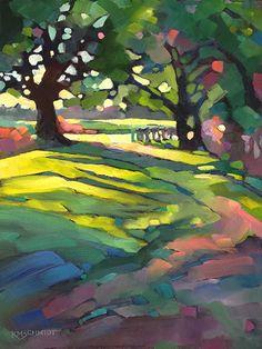 Just Landscape Animal Floral Garden Still Life Paintings by Louisiana Artist Karen Mathison Schmidt: Afternoon Walk contemporary fauve impressionist o...