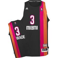 e1b2d39b8a9 Adidas NBA Miami Heat 3 Dwyane Wade Swingman Retro Black Rainbow Jersey  Michael Jordan Shoes,