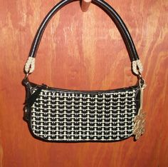 ELLIOTT LUCCA Black/White Woven Canvas & Leather Handbag Purse #ElliottLucca #ShoulderBag  http://stores.ebay.com/The-House-Of-Two-Karat