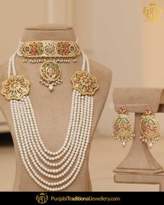 Real Gold Jewelry, Gold Jewellery Design, Pearl Jewelry, Bridal Jewellery Online, Bridal Jewelry, Pakistani Gold Jewelry, Indian Jewelry, Bridal Necklace Set, Gold Necklace