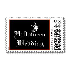 "This unique Halloween wedding postage stamp features white Gothic wedding text that says ""Halloween Wedding"" with a flying witch set on a black background.  #halloween"