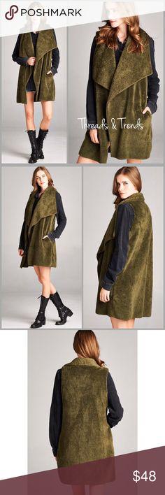 Olive Drape Lapel Vest Trendiest color of the season. Olive faux fur draping large lapel vest. Featuring pockets. Size S, M, L Threads & Trends Jackets & Coats Vests