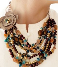 CLASSIC, Statement Necklace, Brown, Gold, Bronze, Teal, Blue, Sparkle, Statement, Bold, Chunky, Pearls, Crystals, Jewelry by Jessica Theresa