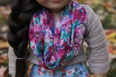 Floral infinity scarf for American Girl Dolls. by WoodlandPines